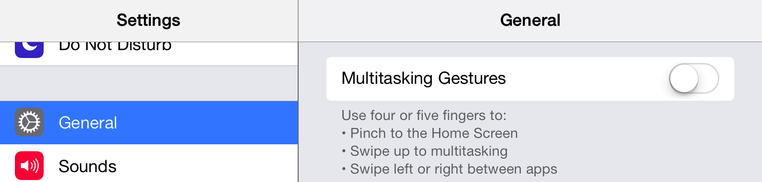 Disable the iPad Multitasking Gestures
