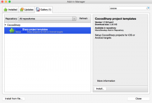 Adding the CocosSharp project templates add-in.