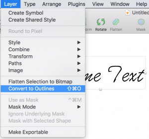 Converting text to outlines for SVG use in Sketch.