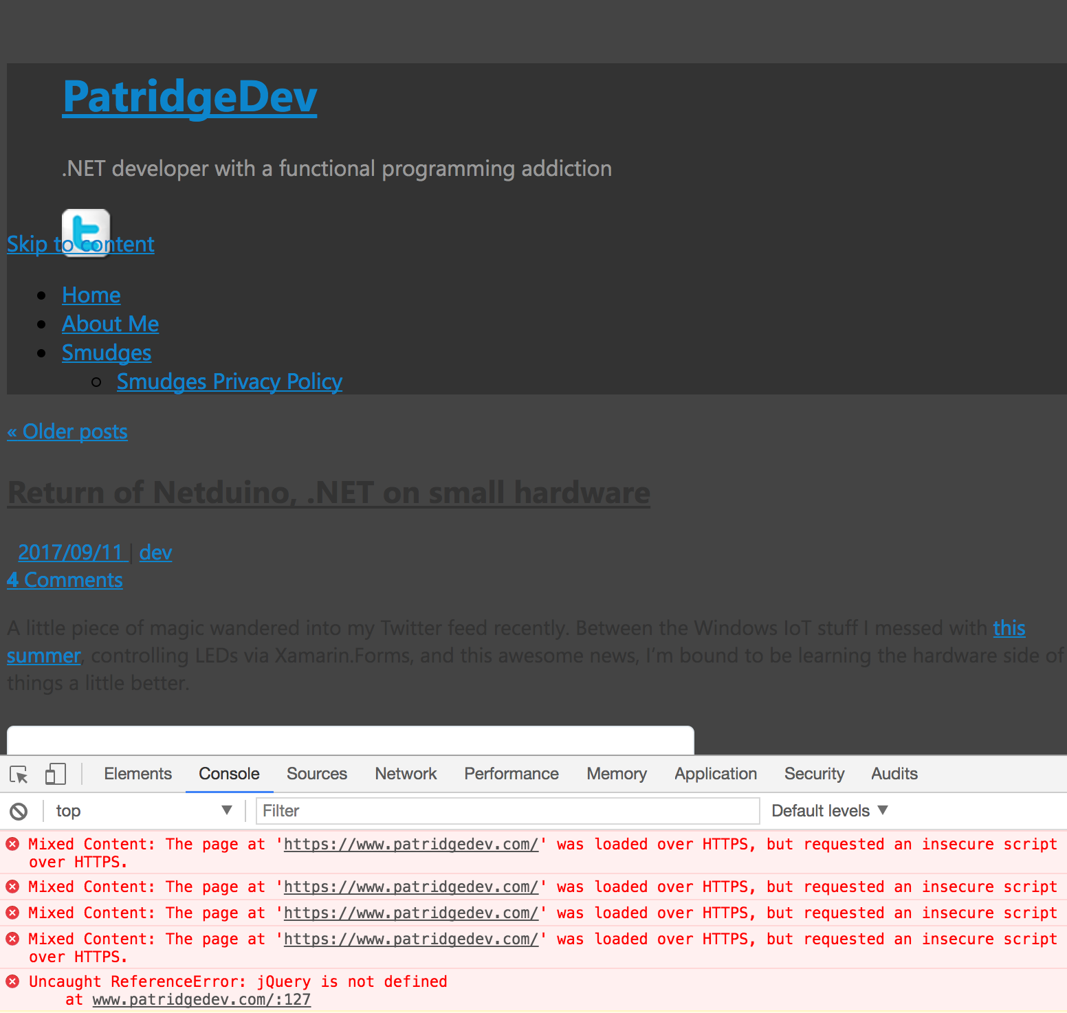 patridgedev.com with several mixed-security broken things making it render horribly in most browsers