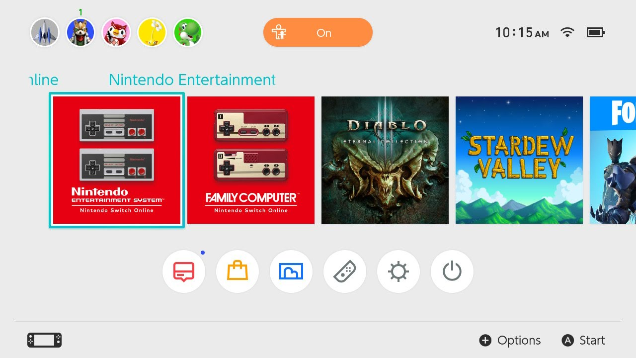 Screenshot of the Switch home screen showing the Famicom app next to the NES app